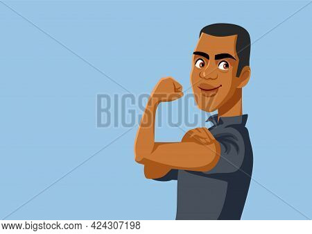 Strong African Man Flexing Arm Vector Illustration
