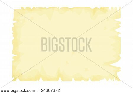 Parchment Paper, Papyrus, Empty Frame, Blank In Cartoon Style Detailed Isolated On White Background