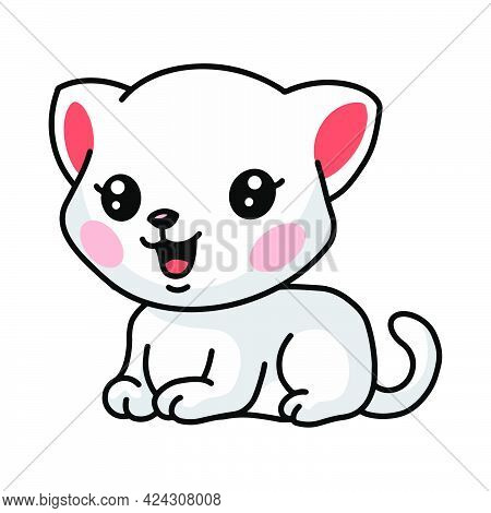 Vector Illustration Of Cute Little White Cat Cartoon Lay Down