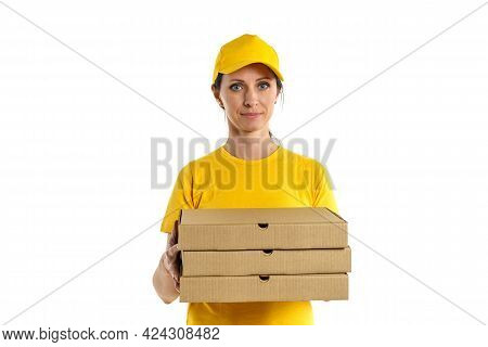 Woman In Yellow Shade And Yellow Cap Holds Boxes, Pizza Delivery Girl On White Background