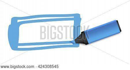 Vintage Blue Marker. Vector Pattern. Grunge Texture. Watercolor Blue Marker. Vector Illustration. St