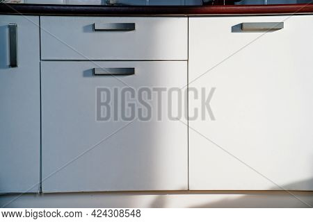 White Doors Of The Kitchen Cupboard. Furniture For Interior Of The House.