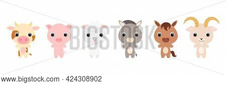 Cute Farm Baby Animals In Cartoon Style. Collection Animals Characters For Kids Cards, Baby Shower,