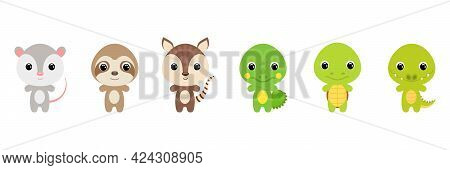 Cute Exotic Baby Animals In Cartoon Style. Collection Animals Characters For Kids Cards, Baby Shower