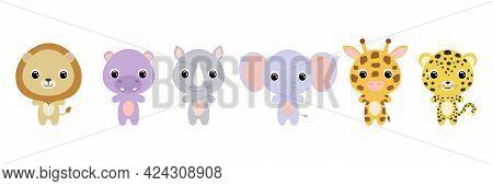 Cute African Baby Animals In Cartoon Style. Collection Animals Characters For Kids Cards, Baby Showe