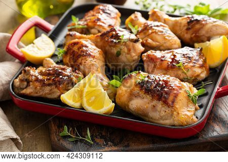 Grilled Chicken Thighs And Drumsticks With Honey Glaze