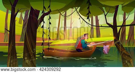 Fishing Man In Boat Catching Fish In Net On Forest Lake Or Pond At Summer Time. Mature Male Characte