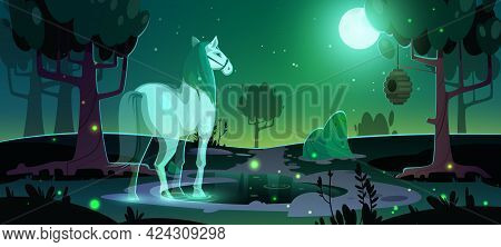 Banner Of Mystery With Glowing Horse Ghost In Dark Forest At Night. Vector Poster With Cartoon Fanta