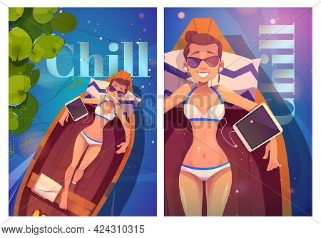 Chill Cartoon Posters With Young Woman In Bikini Lying In Wood Boat Listen Music On Tablet Top View.