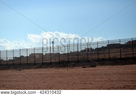 Solid fencing of the entire city for safety. Defense Against Terrorism. November 4, 2020. Sharm El Sheikh, Egypt