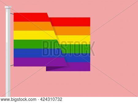 Lgbtq Rainbow Flag With Copyspace. Vector Illustration