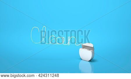 Dental Floss In The Form Of The Word Clean On A Blue Background. 3d Render