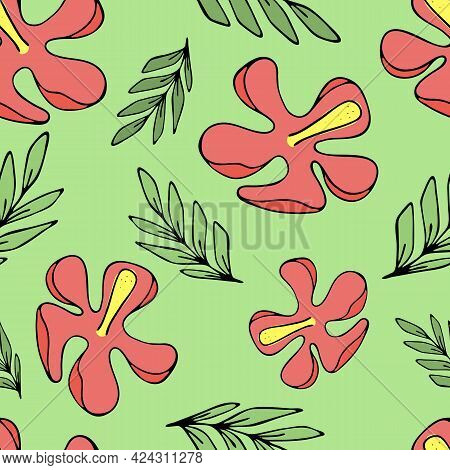 Set Of Green Tropical Green Leaves And Red Hibiscus Flowers, Vector Seamless Pattern Of Doodle Eleme