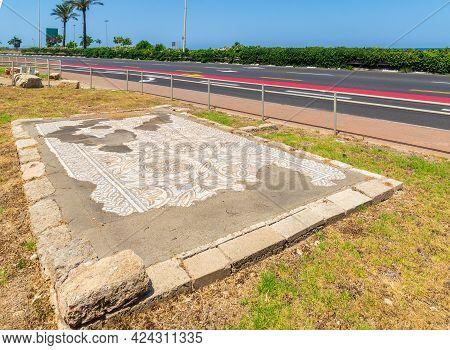 Haifa, Israel - June 12, 2021: View Of Ancient Byzantine Era Church Mosaic Floor, In Ein Hayam Neigh