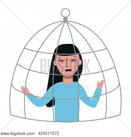 Young Disappointed Woman Sits In A Cage. Violence And Abuse Concept. Vector Flat Illustration.