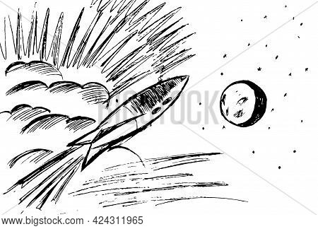 Rocket Flying In Space To The Moon-graphic Image In Black On A White Background