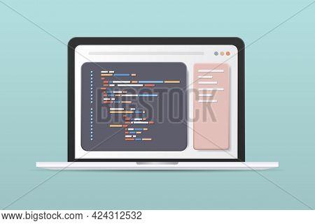 Web Development Programmer Engineering Coding Website On Laptop Screen Programming Software Applicat
