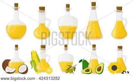 A Set Of Glass Bottles With Different Oils. Olive, Sunflower, Corn, Coconut, And Avocado Oils. Flat