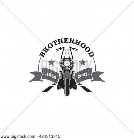 Simple Black And White Vector Logo Concept About Motorcycle Club Or Motorcycle Club Anniversary Or W