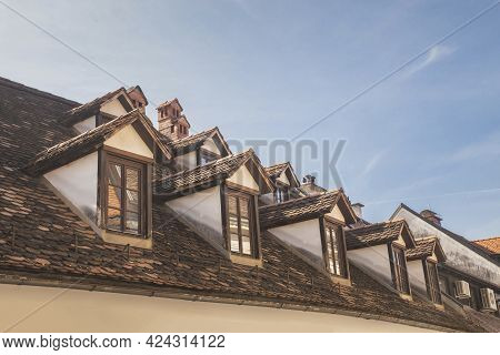 Old Tiled Roof With Attics In Ljubljana Slovenia