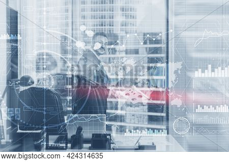 Man In The Background Financial Dashboard With Business Intelligence Bi. Blurred Businessmen In The