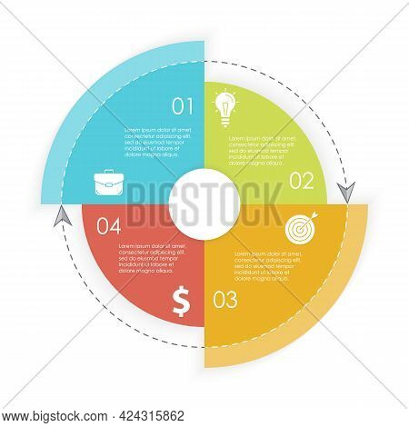 Vector Circle Infographic Template With Arrow For Cycle Diagram, Graph, Web Design And Charts. Busin