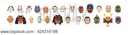 Set Of Different Japanese Noh Masks For Japan Theater. Asian Theatrical Faces Of Gods, Devils, Monst