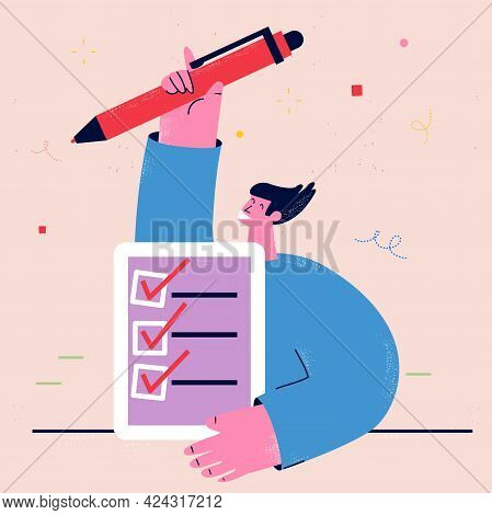 Businessman With Checklist And Pencil, Completed Survey, Business Tasks Organization, Positive Repor