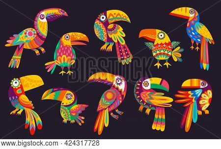 Cartoon Mexican Toucan Birds Vector Design With Traditional Animals Of Mexico. Exotic Tropical Jungl