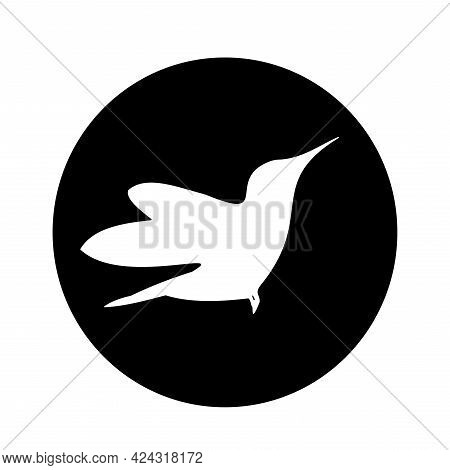 Colibri Bird Graphic Element For Logo. Hummingbird In Black Circle. Vector Illustration Isolated On