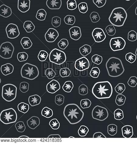 Grey Shield And Marijuana Or Cannabis Leaf Icon Isolated Seamless Pattern On Black Background. Marij