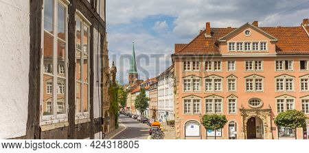 Braunschweig, Germany - July 25, 2020: Panorama Of A Half Timbered House On The Old Town Square Of B