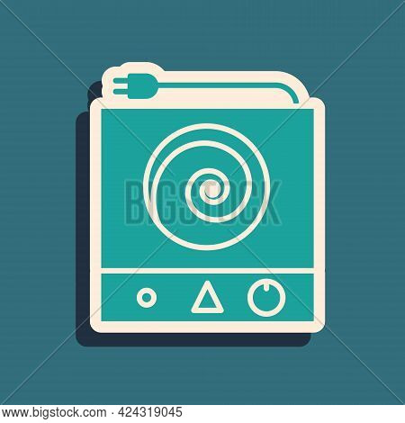 Green Electric Stove Icon Isolated On Green Background. Cooktop Sign. Hob With Four Circle Burners.