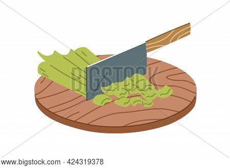 Process Of Chopping Fresh Raw Celery With Metal Sharp Chopper Knife. Cutting Vegetable Ingredient Fo