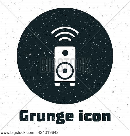 Grunge Smart Stereo Speaker System Icon Isolated On White Background. Sound System Speakers. Interne