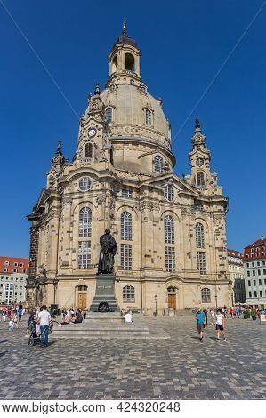 Dresden, Germany - September 11, 2020: Statue Of Martin Luther In Front Of The Frauenkirche Church I
