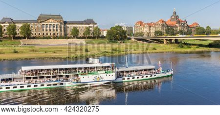 Dresden, Germany - September 11, 2020: Panorama Of A Passenger Ship At The Elbe River In Dresden, Ge