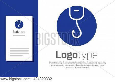 Blue Fishing Hook Icon Isolated On White Background. Fishing Tackle. Logo Design Template Element. V