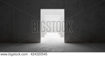 Abstract Empty, Modern Concrete Room With Multiple Doorways In The Middle And Rough Floor - Industri