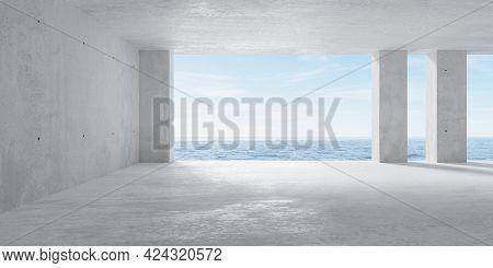 Abstract Empty, Modern Concrete Room With Opening With Ocean View In The Back Wall, Pillars And Roug