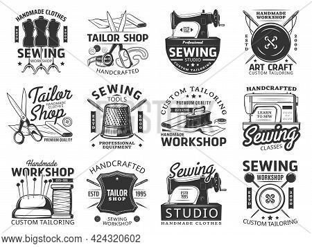 Sewing And Tailor Icons, Vector Emblems. Custom Tailoring Service And Tools Thimble, Mannequin With
