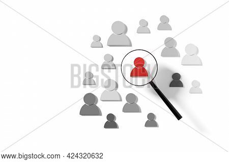 Figure Highlighted By Magnifier In Group Other Figures On White Background, Human Resource Managemen