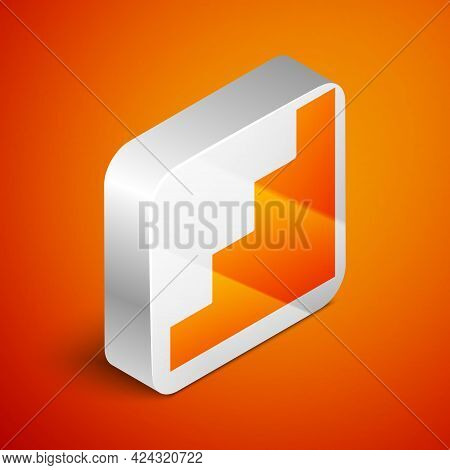 Isometric Staircase Icon Isolated On Orange Background. Silver Square Button. Vector