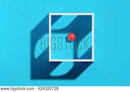 Red Sphere In White Box With Different Exits Over Cyan Background, Way Finding, Decision Making Mini
