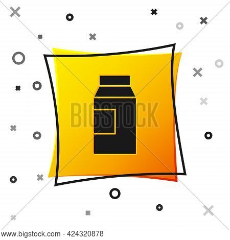 Black Paper Package For Milk Icon Isolated On White Background. Milk Packet Sign. Yellow Square Butt