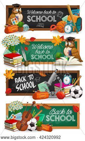 Back To School Education Chalkboard Banners. Cartoon Vector Owl Bird In Cap, Book And Schoolbag, Ala