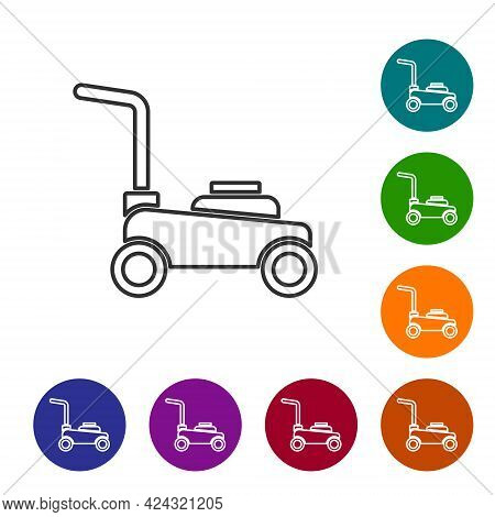 Black Line Lawn Mower Icon Isolated On White Background. Lawn Mower Cutting Grass. Set Icons In Colo