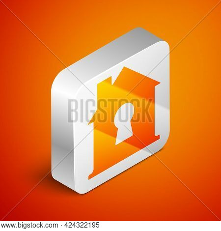 Isometric House Under Protection Icon Isolated On Orange Background. Home And Shield. Protection, Sa