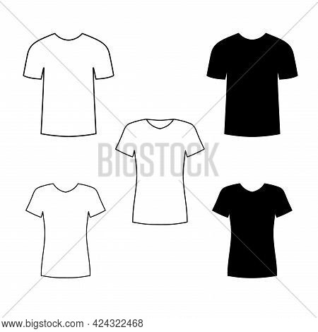 Front Views Of Blank Male And Female T-shirt. Black Silhouette Of T-shirt With Short Sleeves. Vector