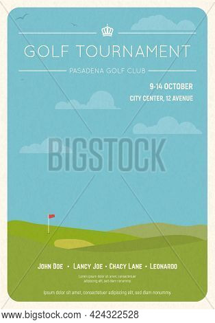 Retro Style Golf Club Invite. Blue Sky And Green Golf Field. Golfclub Competition Poster On Textured